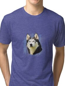 Siberian Husky Dog Water Color Art Painting Tri-blend T-Shirt