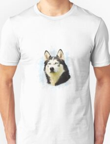 Siberian Husky Dog Water Color Art Painting Unisex T-Shirt