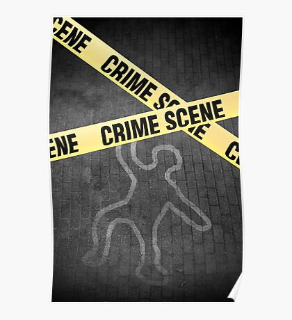 An outline of a person on a street. Murder? Suicide? An accident? Poster