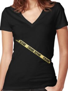 Crime scene ribbon cut out. Transparent background.  Women's Fitted V-Neck T-Shirt