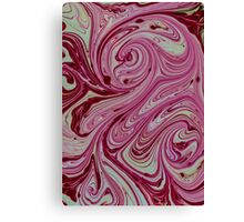 Pink, red and cream marble pattern Canvas Print