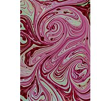 Pink, red and cream marble pattern Photographic Print