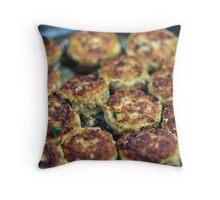 Meatballs cooking Throw Pillow