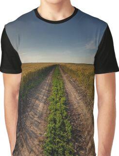 Rural road through wheat field Graphic T-Shirt