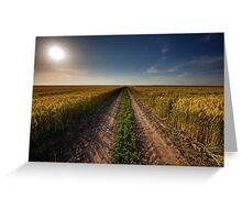 Rural road through wheat field Greeting Card