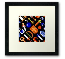 Legend of Zelda NES (items pattern) Framed Print