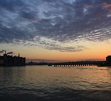Sunset at Boston Harbor by Jackie Bell
