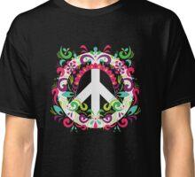 Floral Retro Peace Sign - T Shirt - 70's  Classic T-Shirt