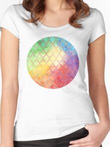 Rainbow Watercolor Moroccan Pattern Women's Fitted Scoop T-Shirt