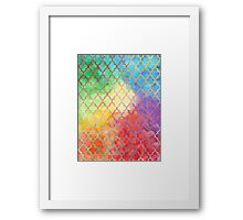Rainbow Watercolor Moroccan Pattern Framed Print