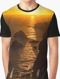 sunset over the coastal rocks with wild highl Graphic T-Shirt