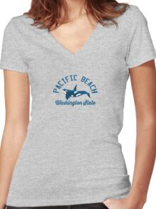 Pacific  Beach - Washington. Women's Fitted V-Neck T-Shirt