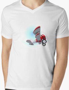 Cartoon Biplane Mens V-Neck T-Shirt