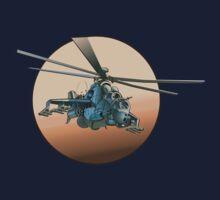Cartoon Military Helicopter Kids Tee