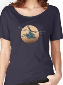 Cartoon Military Helicopter Women's Relaxed Fit T-Shirt