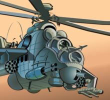 Cartoon Military Helicopter Sticker
