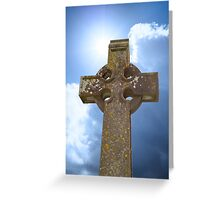 sunshine over celtic cross at ancient graveyard Greeting Card