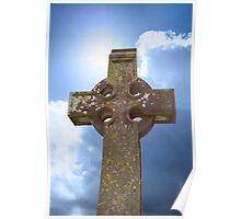 sunshine over celtic cross at ancient graveyard Poster