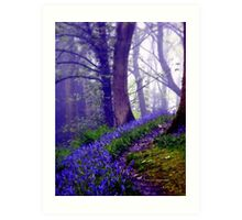 Bluebells in the Forest Rain Art Print