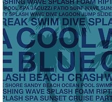 Summer Words Poolside and Hawaiian Palm Tree - Blue by DriveIndustries