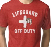 Off Duty Sloth Napping Lifeguard Tri-blend T-Shirt