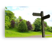 Old Signpost in a Park Canvas Print