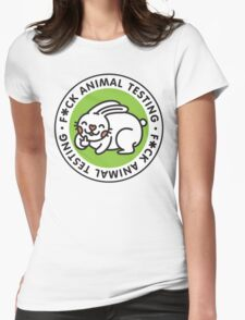 F*CK ANIMAL TESTING Womens Fitted T-Shirt