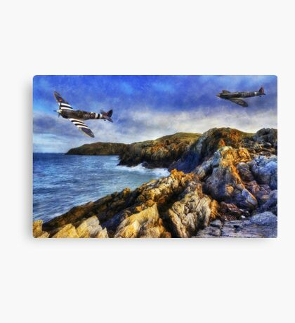 Spitfires On The Coast Canvas Print