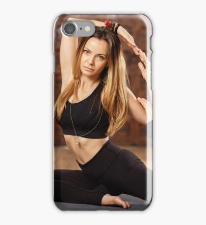 Woman yoga trainer in asana iPhone Case/Skin