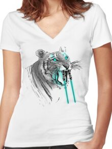 Saber-toothed Tiger Women's Fitted V-Neck T-Shirt