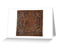 Hindu sculpture on wood, decorative Greeting Card