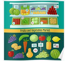 Fruits and Vegetables Market. Healthy Eating Concept Poster