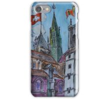 Watercolor Sketch - Saint Pierre Cathedral, Geneva 2014 iPhone Case/Skin