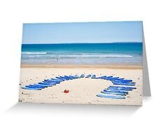 surf boards at surf school Greeting Card