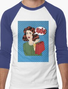 Pop art Style Sale banner. Vintage Girl with Shopping Bags in Comics Style Men's Baseball ¾ T-Shirt