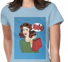 Pop art Style Sale banner. Vintage Girl with Shopping Bags in Comics Style Womens Fitted T-Shirt