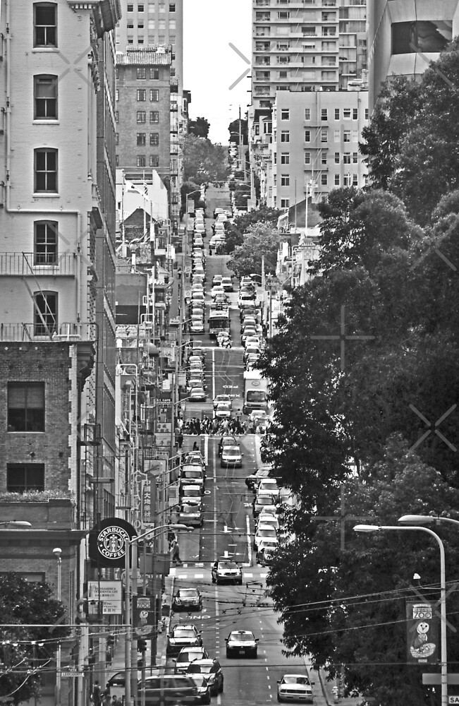 Urban Living in San Francisco - A Hilly Street by Buckwhite