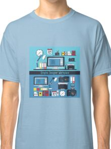 Graphic Designer Workplace Concept. Table with Computer and Designer Tools and set of elements Classic T-Shirt