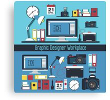 Graphic Designer Workplace Concept. Table with Computer and Designer Tools and set of elements Canvas Print