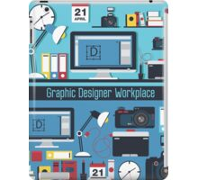 Graphic Designer Workplace Concept. Table with Computer and Designer Tools and set of elements iPad Case/Skin
