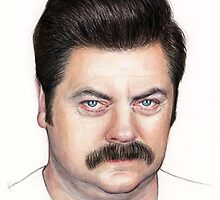 Ron Swanson Portrait Nick Offerman Art by OlechkaDesign