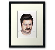 Ron Swanson Portrait Nick Offerman Art Framed Print