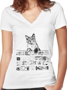 Cat on the Wall  Women's Fitted V-Neck T-Shirt