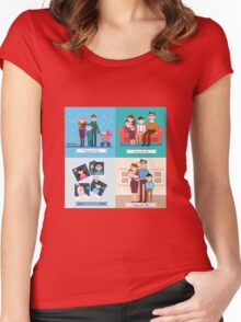 Happy Family with Newborn Baby. Set of vector illustrations Women's Fitted Scoop T-Shirt