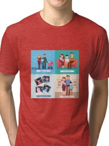 Happy Family with Newborn Baby. Set of vector illustrations Tri-blend T-Shirt