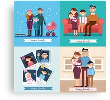 Happy Family with Newborn Baby. Set of vector illustrations Canvas Print