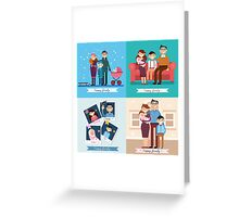 Happy Family with Newborn Baby. Set of vector illustrations Greeting Card