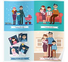 Happy Family with Newborn Baby. Set of vector illustrations Poster