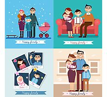Happy Family with Newborn Baby. Set of vector illustrations Photographic Print