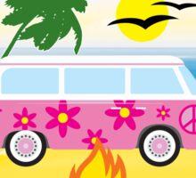 CAMPING HAPPY CAMPER CALIFORNIA BEACH VOLKSWAGEN BUS CAMPFIRE PEACE HIPPIE Sticker